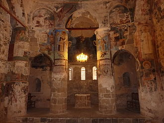 Antiphonitis - Church of Christ Antiphonitis, interior, frescoes on walls and pillars, looking east.