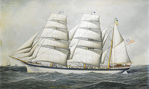 Antonio Jacobsen - The British barque Dunearn at sea under full sail and calling for a pilot.jpg