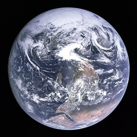 A photo of Earth from Apollo 17 (Blue Marble) originally had the south pole at the top; however, it was turned upside-down to fit the traditional perspective Apollo17WorldReversed.jpg