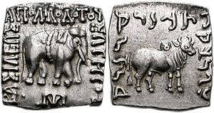 Apollodotus I - Indian coin of Apollodotus I, with a nandipada taurine symbol on the hump of the zebu bull.