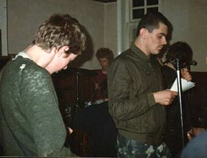 Andy Martin (English musician) - Andy Martin performing with The Apostles at the Spread Eagle, Southend on Sea, December 1981