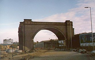 Horns Bridge - Remaining arch of viaduct over the A61 road in 1984.