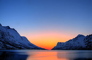 Arctic ecology - A sunset in the arctic region.