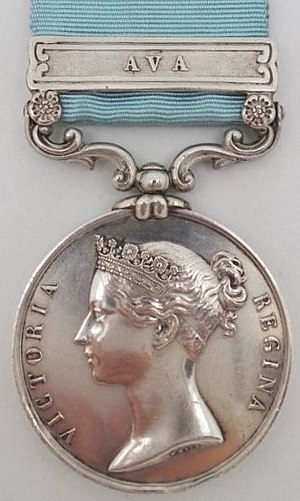 Army of India Medal - Image: Army Of India Medal with clasp 'Ava', Obverse