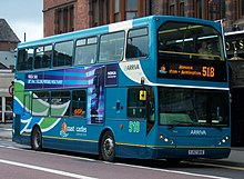 Arriva bus 7454 VDL DB250 East Lancs Myllennium Lowlander YJ57 BVE Coast and Castles in Newcastle upon Tyne pic 1.jpg