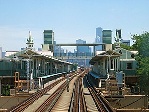 "Lake Street Elevated Railroad - Ashland station, one of the original stations on the Lake Street ""L"""