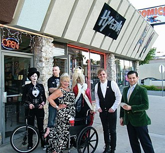Hyaena Gallery - Artists gather outside Hyaena Gallery for a book signing (L to R) artist Spinestealer, owner Bill Shafer, Public Access star Francine Dancer, author and illustrator Lorin Morgan-Richards, and magician Joseph Schneider. Burbank, California, 2010.