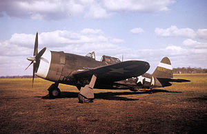 RAF Atcham - Republic P-47C-5-RE Thunderbolt Serial 41-6530 of the 551st Fighter Training Squadron.    This aircraft was formerly assigned to the 56th Fighter Group at RAF Kings Cliffe.  This aircraft was condemned due to enemy action 16 April 1946