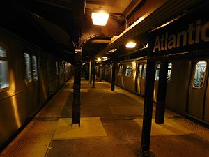 Atlantic Avenue (BMT Canarsie Line) - View of platforms at night