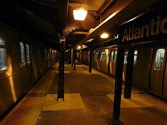 Atlantic Avenue (BMT Canarsie Line) - View of platforms at night