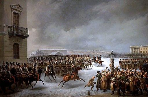 Au service des Tsars - inv. ЭРЖ-2379 - Attaque du carré des décabristes par le régiment des gardes à cheval le 14 décembre 1825