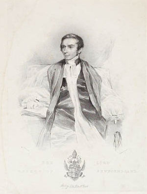 Aubrey Spencer - A lithograph of Spencer, with his coat of arms