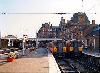 Ayr railway station - Class 318s at Ayr
