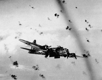 729th Airlift Squadron - 452 Bomb Group B-17G Flying Fortress flying through flak