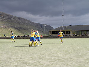 B71 Sandoy - B71 vs. FC Suðuroy in Vodafonedeildin on 2. May 2010. B71 won the match 3–1. This is just after B71 scored one of their 3 goals.