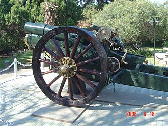 BL 6-inch 26 cwt howitzer - Restored gun, the Memorial to 71st (Transvaal) Siege Battery at Johannesburg Zoo.