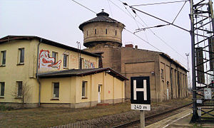 Bad Kleinen station - Railway building of 1880 with water tower and roundhouse