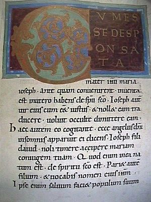 A page from an 11th century Gospel of Matthew ...