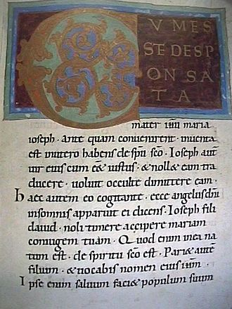 Nativity of Jesus - A page from an 11th-century Gospel of Matthew showing Matthew 1:21