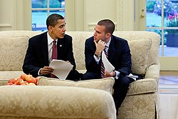 Barack Obama and Jon Favreau in the Oval Office (cropped).jpg