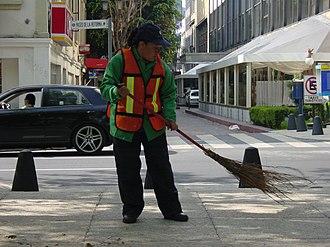 Street sweeper - Street sweeper in Paseo de la Reforma in Mexico City