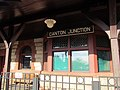 Bay window and old station sign at Canton Junction, April 2016.JPG