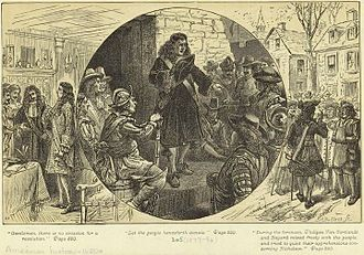 Leisler's Rebellion - 19th-century engraving depicting Nicholson's councilors attempting to quiet the rebellion