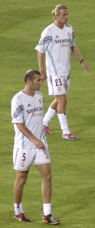 David Beckham - Beckham (top) and Zinedine Zidane at Real Madrid in August 2003