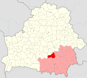 Akciabrski District - Location of Aktsyabar Raion on the map of Gomel Region.