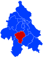 Location of Barajevo within the city of Belgrade