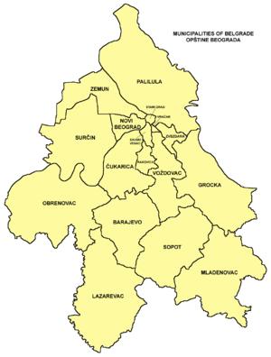 Subdivisions of Belgrade - Map of the municipalities of Belgrade
