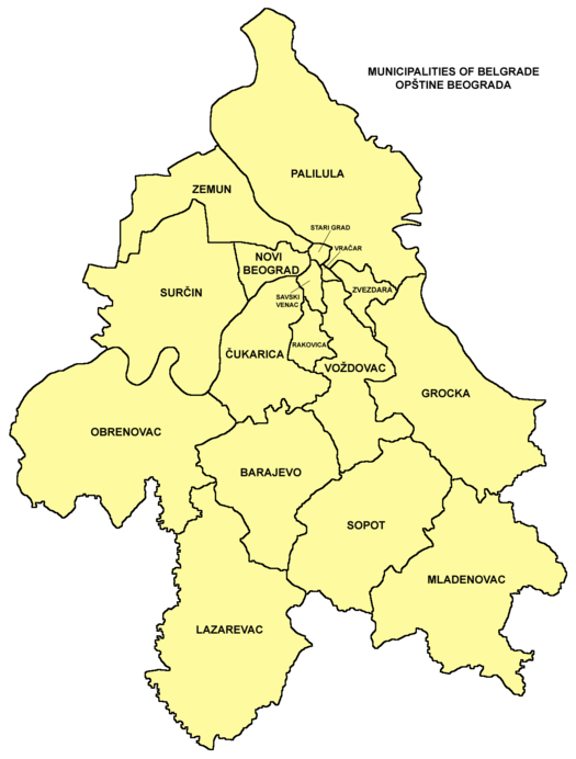 Municipalities of Belgrade map Belgrade municipalities02.png