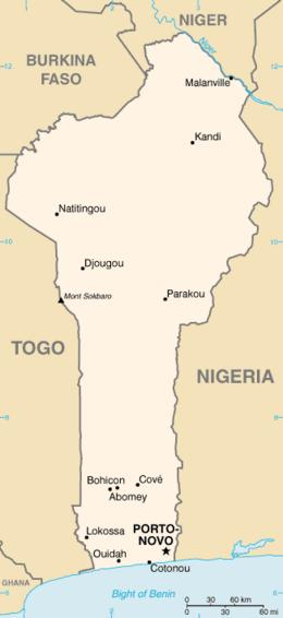 Mapa  República do Benim