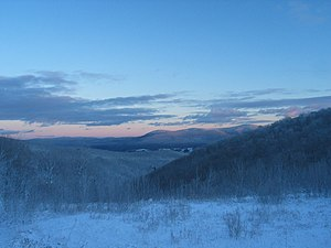 Berkshire County, Massachusetts - The Berkshire Hills, part of the Appalachian Mountains, in winter