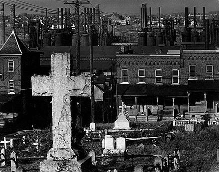 Graveyard with Bethlehem Steel in background, 1935. Photo by Walker Evans. Bethlehem PA graveyard and steel mill 1935.jpg