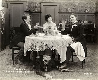 Ford Sterling - Chester Conklin (left), Mary Thurman (center) and Ford Sterling (right) in the 1918 Mack Sennett comedy Beware of Boarders