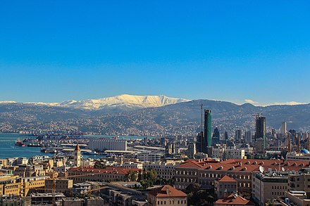 View of the Saint George Bay, and snow-capped Mount Sannine from a tower in the Beirut Central District Bey-Sannine-BCD.jpg