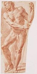 Figure masculine debout avec une canne