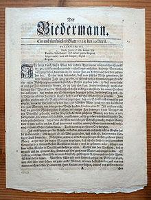 Der Biedermann, Titelseite vom 19.April 1728 (Quelle: Wikimedia)