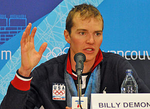 Bill Demong - Demong at a press conference after his victory in the 10 km individual large hill event at the 2010 Winter Olympics