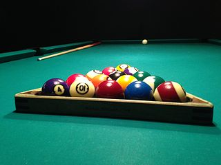 Rack (billiards) frame used to organize billiard balls at the beginning of a game