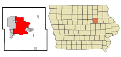 Black Hawk County Iowa Incorporated and Unincorporated areas Waterloo Highlighted.svg