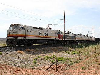 Black Mesa and Lake Powell Railroad - Eastbound train on the Black Mesa and Lake Powell Railroad, May 19, 2007. Note the Ferrocarriles Nacionales de México (N de M) livery on the locomotives