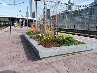 Railway platform fixed structure to allow people to board or alight trains