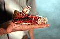 Bloody child's shoe after rocket fired from Gaza hit Israel.jpg