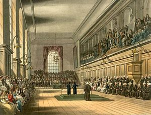 Charity school - The Blue Coat School (in this case Christ's Hospital, London) as drawn by Augustus Pugin and Thomas Rowlandson for Rudolph Ackermann's Microcosm of London (1808-11). The picture shows the Great Hall on St. Matthew's Day, September 21st. Two senior boys destined for scholarships to Oxford and Cambridge Universities, known as Grecians, gave orations in praise of the school, one in Latin and the other in English.