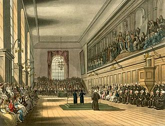 This engraving was published in The Microcosm of London (1808) shows the Great Hall on St Matthew's Day, 21 September. On this day, two Grecians destined for scholarships to Oxford and Cambridge universities gave orations in praise of the school, one in Latin and the other in English. The Verrio painting can be seen along the wall on the right. Blue Coat School Microcosm edited.jpg