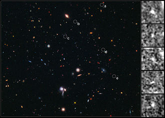 Galaxy cluster - Composite image of five galaxies clustered together just 600 million years after the Universe's birth