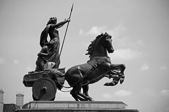 Londinium - The rediscovery of Tacitus's works revived English interest in Boudica, particularly during the 19th century, when she was used as a symbol for Queen Victoria and the British Empire. (Boadicea and Her Daughters by Thomas Thornycroft, 1860s, cast by his son in 1902.)