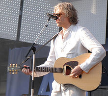Bob Geldof Playing A Right Handed Guitar Upside Down Gibson
